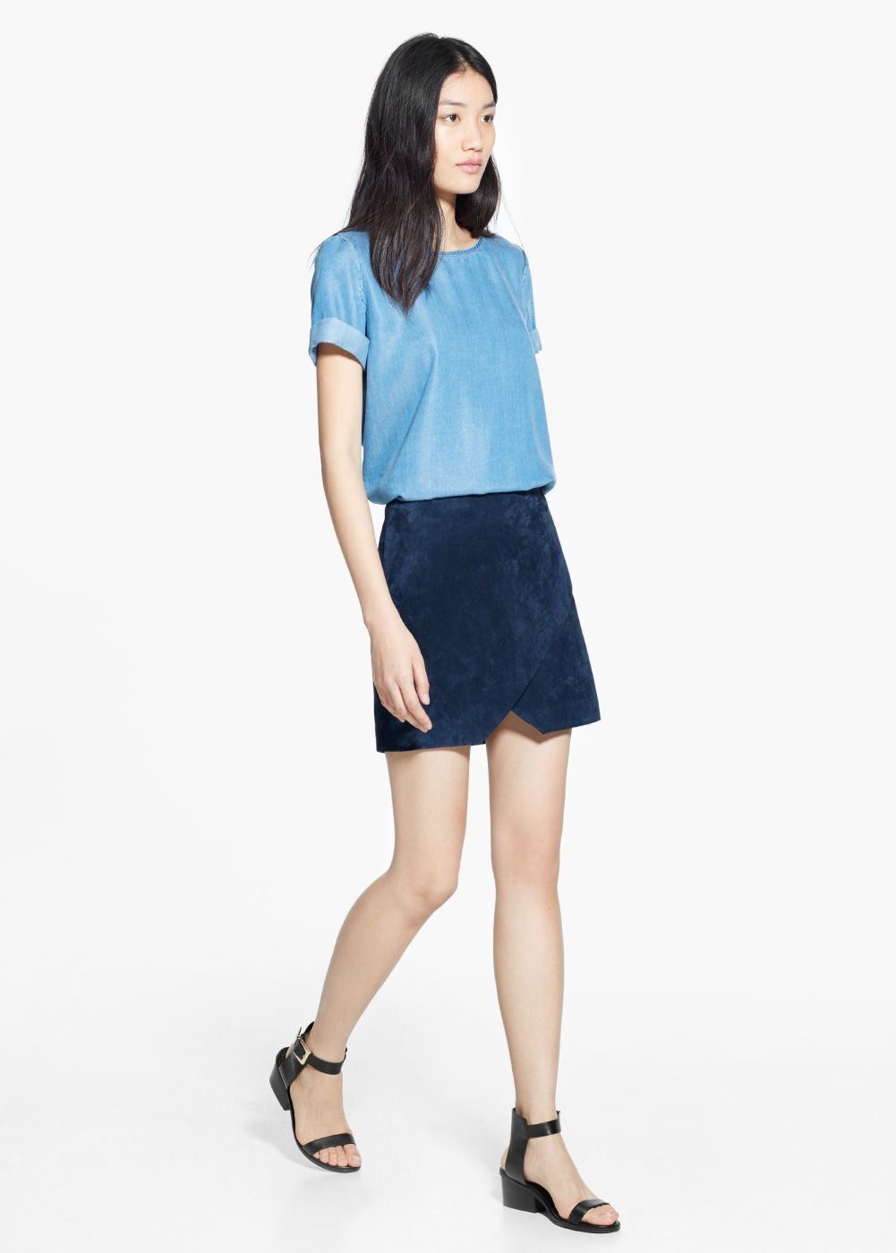 Suede wrap skirt | Skirts, Navy blue and Style