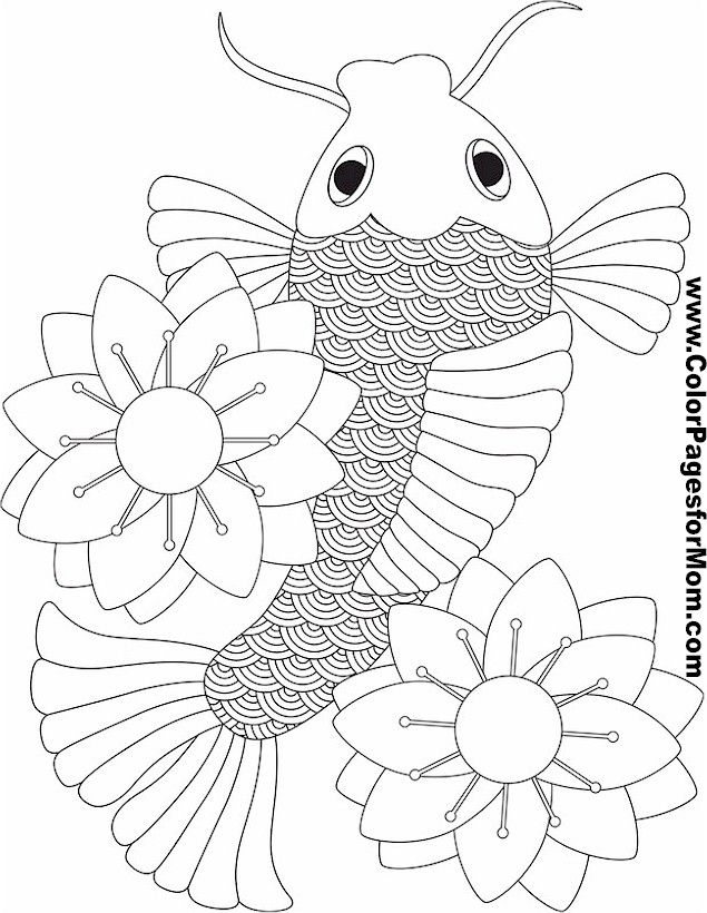 Koi Fish Coloring Page Color Pages For Mom Coloring Books Pages Asian Print Design Koi Fish P Coloring Pages Japanese Embroidery Fish Coloring Page
