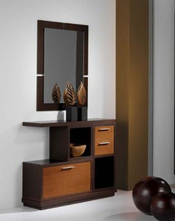 meuble d 39 entr e avec tiroirs et miroir rubens coloris teck et weng muebles pinterest. Black Bedroom Furniture Sets. Home Design Ideas