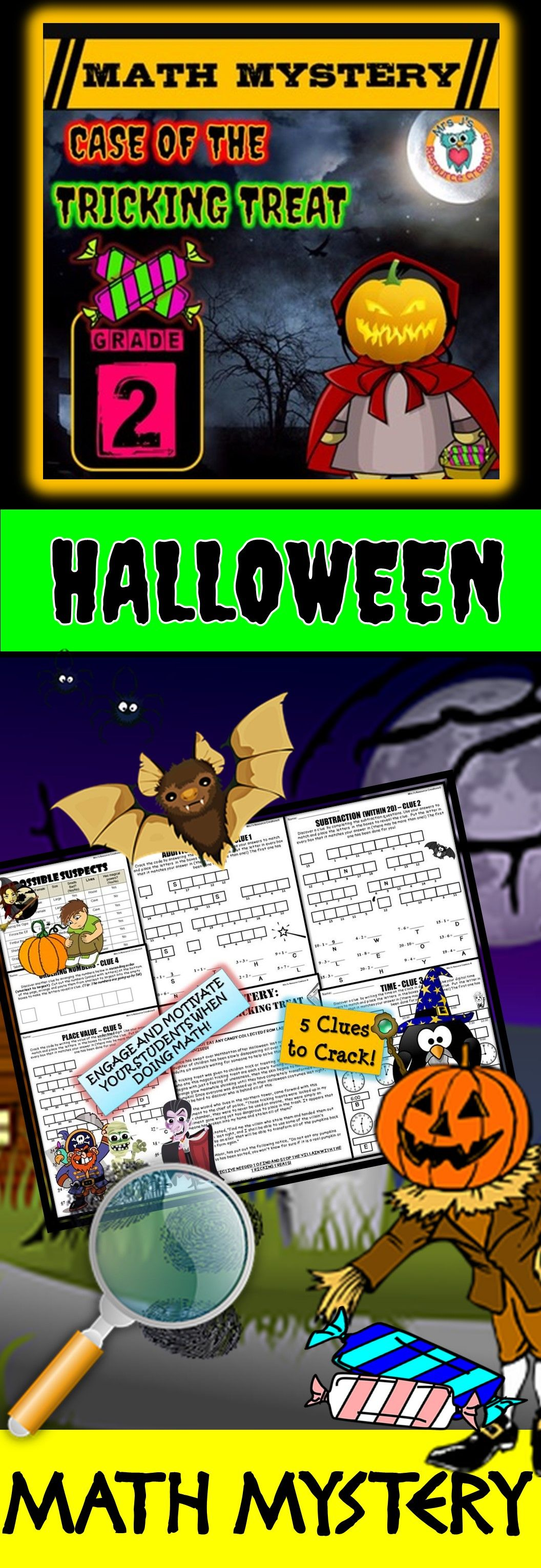 2nd Grade Halloween Activity Halloween Math Mystery Game