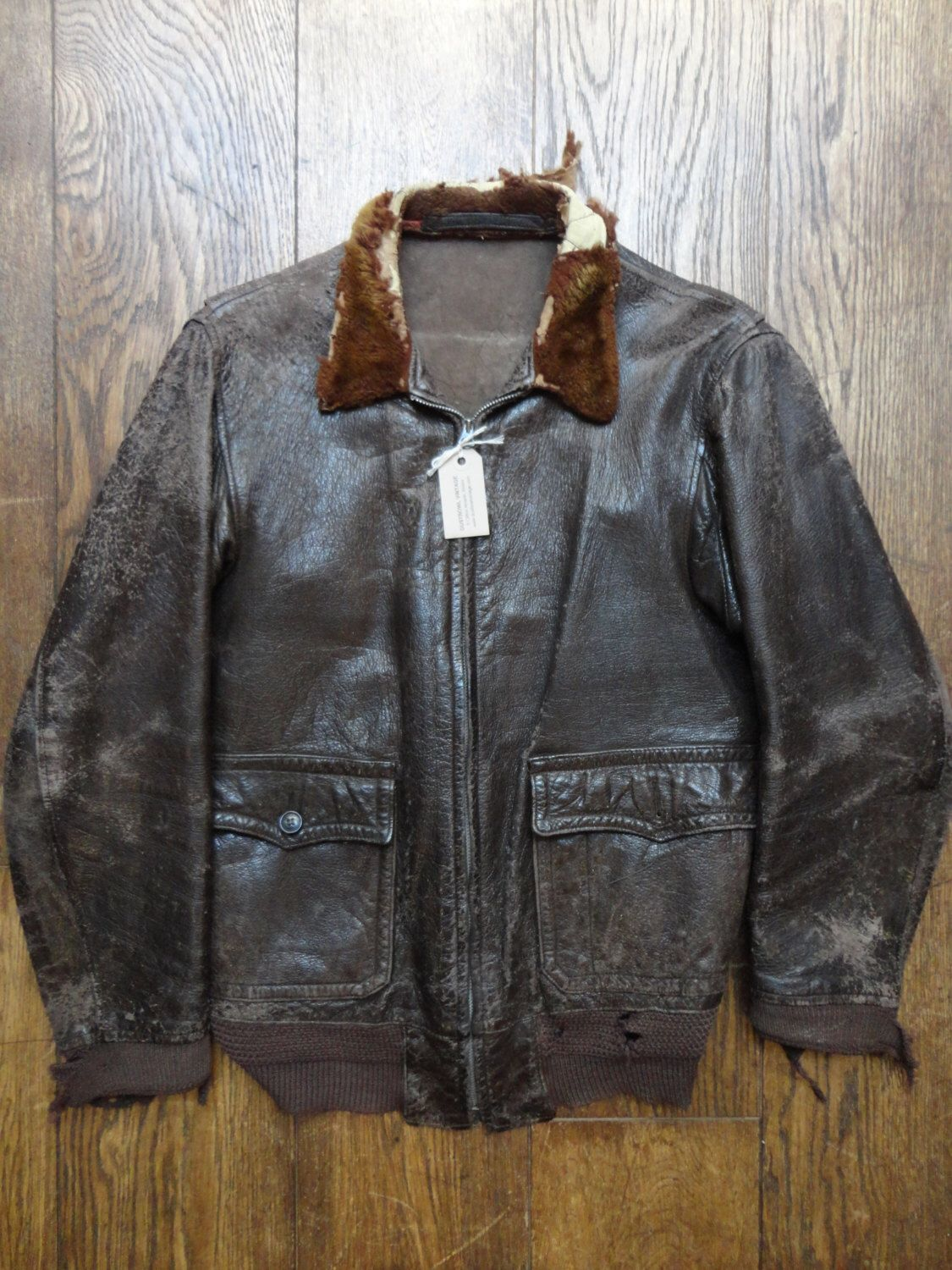 Vintage repair research restoration 1940s USN US Navy Type G-1 M422A ANJ-3 goatskin leather jacket Talon zipper rib rack mouton collar ww2 by TheDustbowlVintage on Etsy https://www.etsy.com/listing/262885813/vintage-repair-research-restoration