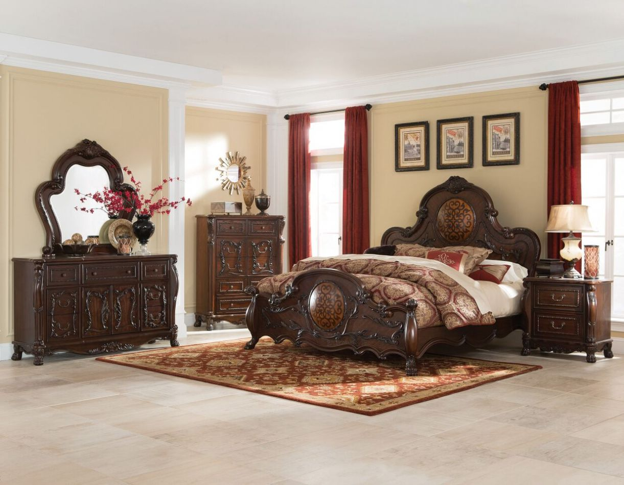 Abigail Antique Cherry Queen Bed With Lion Claws Bedroom 5 pcs Set - San Diego Bedroom Furniture - Interior Design Bedroom Color Schemes
