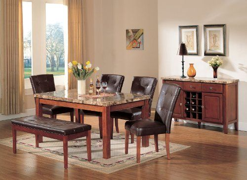 Acme Bologna Marble Top Rectangular Dining Table Set In Brown By Rooms Outlet