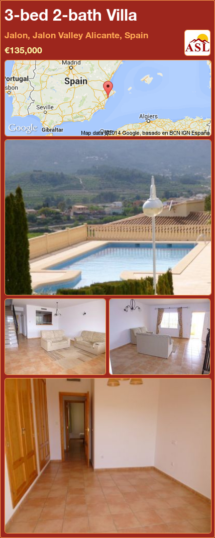Map Of Spain Jalon.3 Bed 2 Bath Villa In Jalon Jalon Valley Alicante Spain 135 000