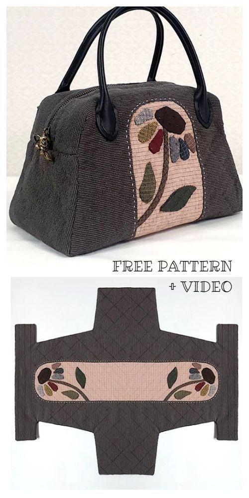 DIY One Piece Fabric Quilt Bag Kostenloses Schnittmuster + Video, #diy # One Pie...