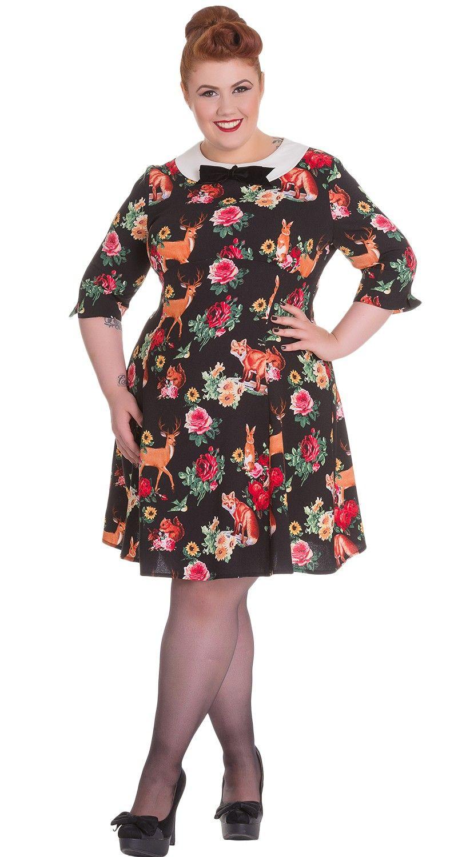 Hell Bunny Hermaline Forest Animals /& Flower Print Wonderland Dress