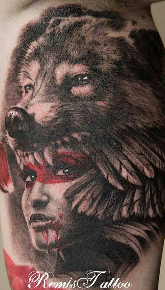 Girl With Wolf Head Done By Remis Tattoo Blow Your Mind Tattoos