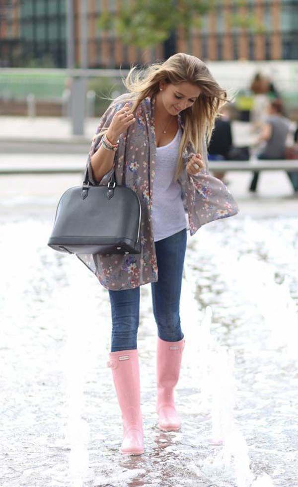 Looks con botas de agua | Moda | Moda lluvia, Moda para