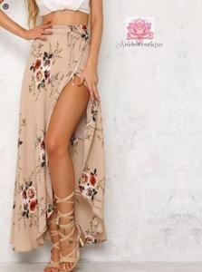 98c446e395 Vintage floral print long skirts women Summer elegant beach maxi skirt Boho  high waist asymmetrical skirt