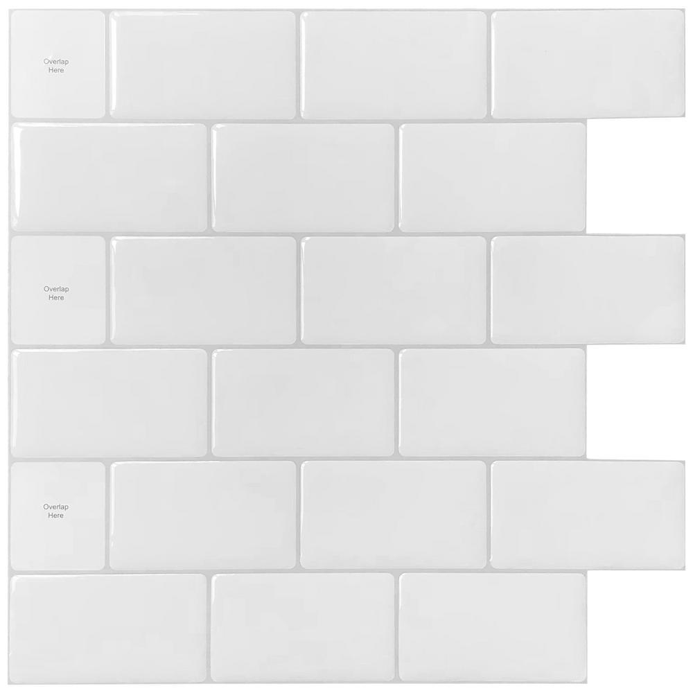 Longking 12 In X 12 In White Vinyl Subway Peel And Stick Decorative Wall Tile Backsplash 10 Pack Lka2300b0 The Home Depot In 2021 Stick On Tiles Peel And Stick Tile Peel Stick Backsplash