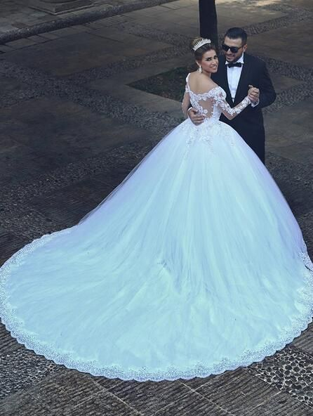 Princess Wedding Dress Ball Gown Bridal With Long Sleeves