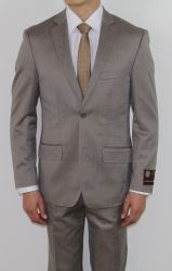 Men's Two Button Slim Fit Taupe Textured Suit