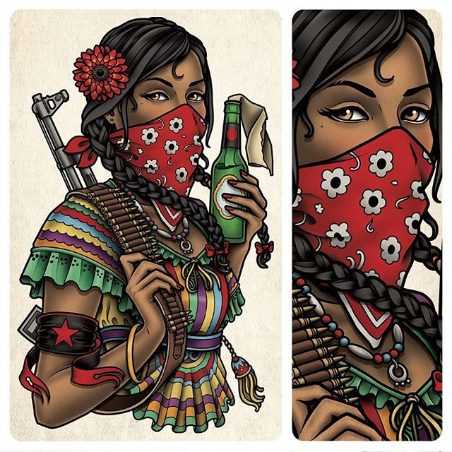 This is a back tattoo of a zapatista woman mexican for Mexican girl tattoos