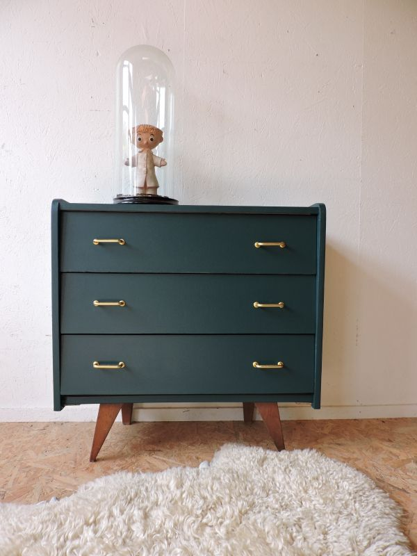 commode ann es 50 revisit e vert canard c te et vintage. Black Bedroom Furniture Sets. Home Design Ideas