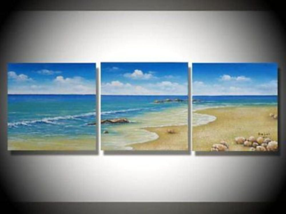 Beach Sun Sand 3 Piece Hand Painted Wall Art Free Global Shipping Framed Canvas Painting Oil Painting Abstract Hand Painted Wall Art