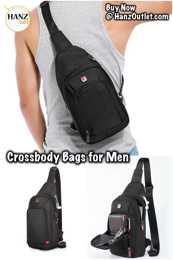 Men/'s Chest Bags Waterproof Nylon Single Shoulder Bags Large Capacity Casual Bag