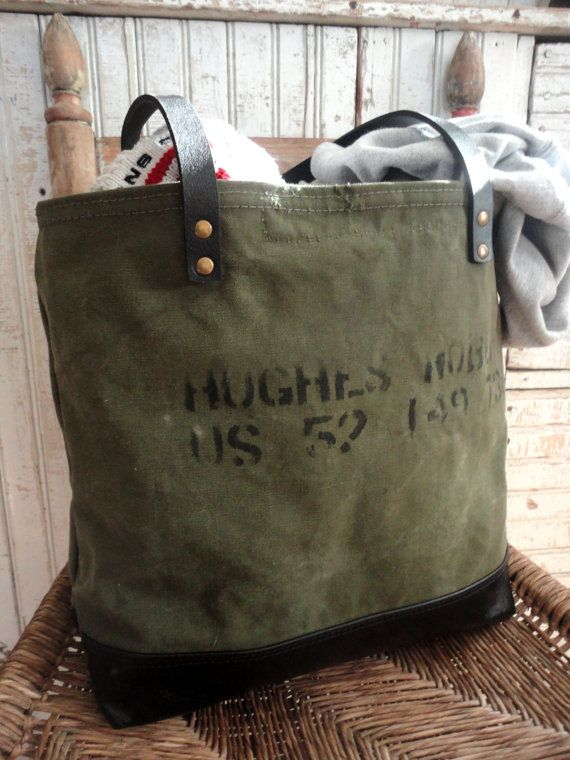 b8d0d64601 VINTAGE US MILITARY TOTE - Heavy duty tote made from vintage military  canvas. The bottom