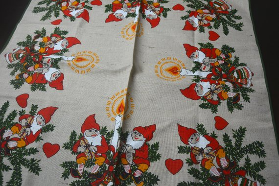 Lovely Scandinavian Christms Tablecloth Elves Gnomes Hearts Etsy Christmas Table Cloth Scandinavian Holiday Decor Scandinavian Holidays