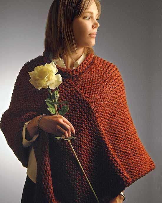 Free Knitting Pattern For Short Poncho : Poncho with Rolled Collar : Wayback Machine - ProvoCraft ...