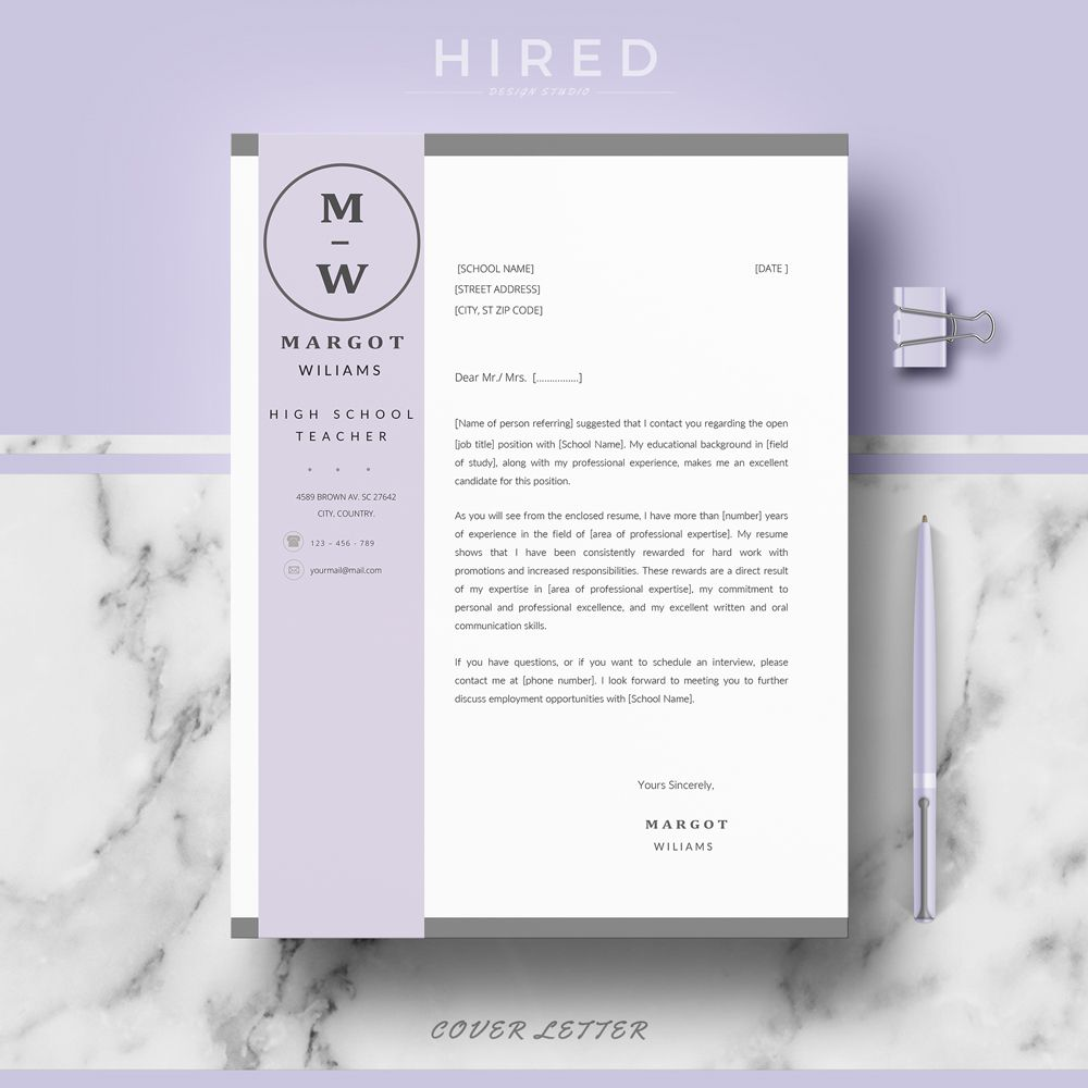 Teacher Resume Template Cv Template For Pages Amp Ms Word