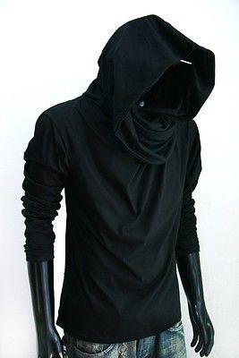 Jedi Men Black Cowl Neck Hoodie Longsleeve Shirt Top Vintage Classic S M L Xl 2x Scarf Shirt Mens Outfits Hoodies