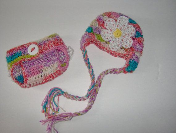 Crochet Baby Hat and Diaper Cover Set Newborn by NancyBags4U, $34.00