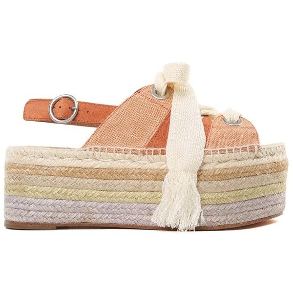 ac16d6cd1 Chloè Qai Suede and Canvas Platform Espadrille Sandals ($500) ❤ liked on Polyvore  featuring shoes, sandals, marrone, lace up platform espadrilles, ...