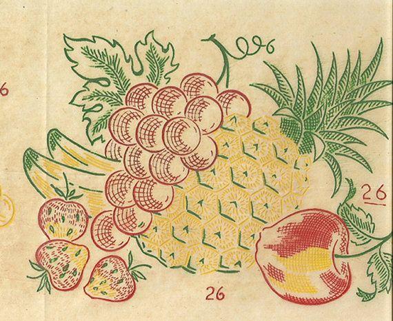 1950s Vintage Vogart Textilprint 26 Crisp Fruit by vintage4me2