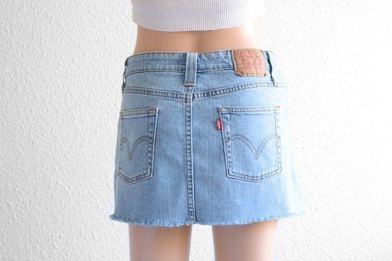 Levis High Waisted Skirt Vintage Levi High Waist Denim Mini Skirt 90s Clothing 90s Grunge denim Skir