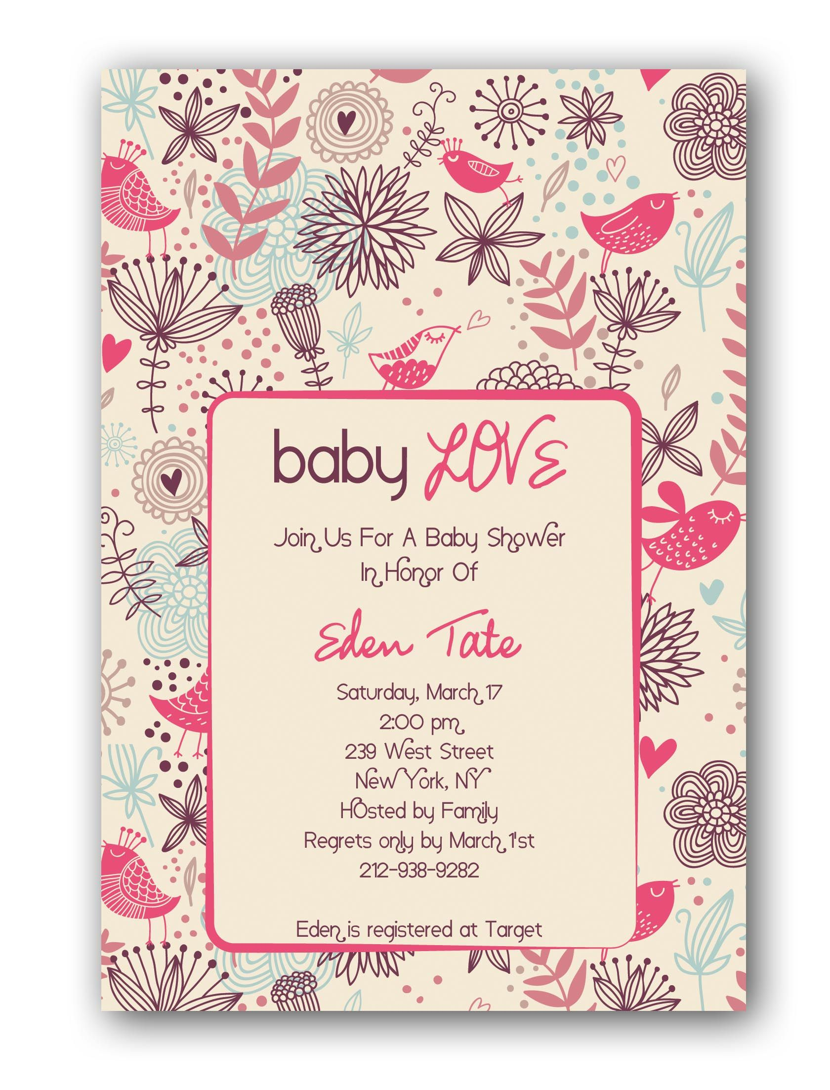 Baby Shower Invitations for girl item price 1 75 each sale