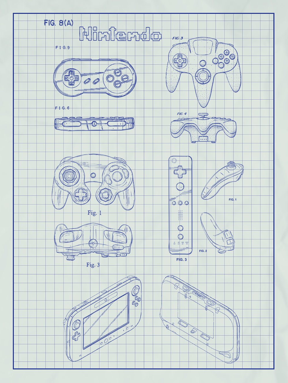Nintendo Controllers Patent Print On White Graph Paper Background Screen Printing Patent Prints Silk Screen Printing