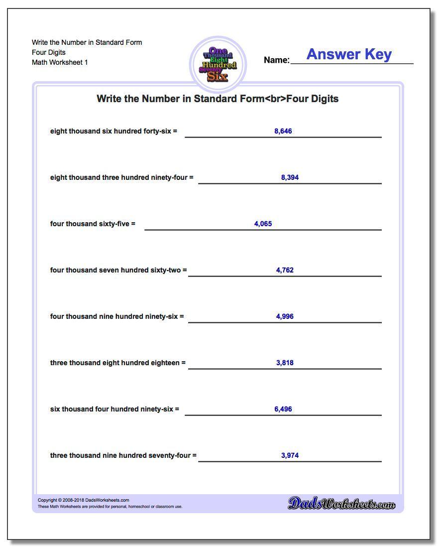 Write The Number In Standard Form Worksheet Four Digits Standard