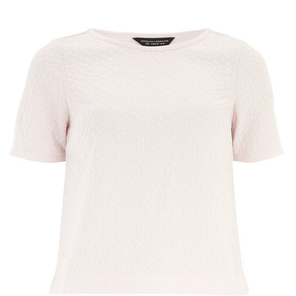 Dorothy Perkins Blush Bubble Textured Tee (£6.96) ❤ liked on Polyvore featuring tops, t-shirts, blush, white t shirt, textured t shirt, dorothy perkins tops, dorothy perkins and white short sleeve top