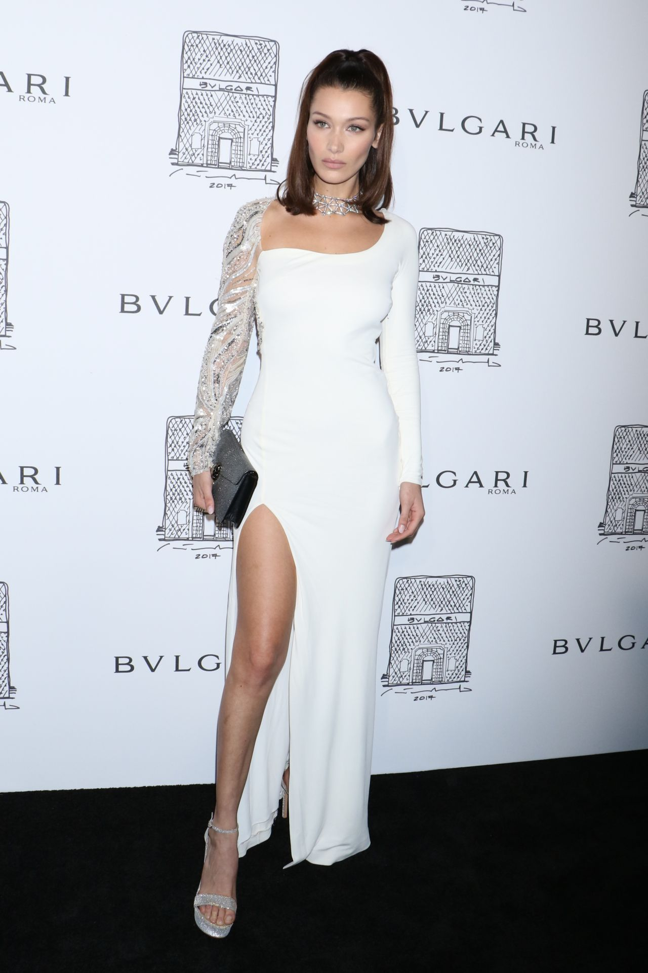7e1e7397195 Bella Hadid attends Bulgari Celebrates 5th Avenue Flagship Store Opening on  Friday night (October 21) in New York City. She is wearing a Roberto  Cavalli ...