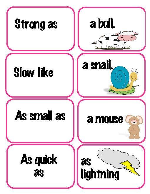 Free Similes Literacy Centers Matching Activity Teacherlingo