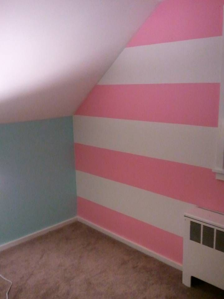 Pink and white striped accent wall shared nursery ideas for Painting stripes on walls in kids room