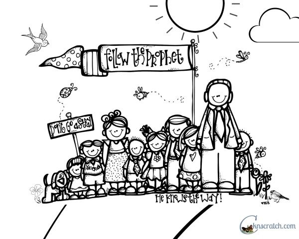 Coloring Pages For Following Jesus. Follow the Prophet coloring page to go with Behold Your Little Ones lesson Lesson 24  I Will