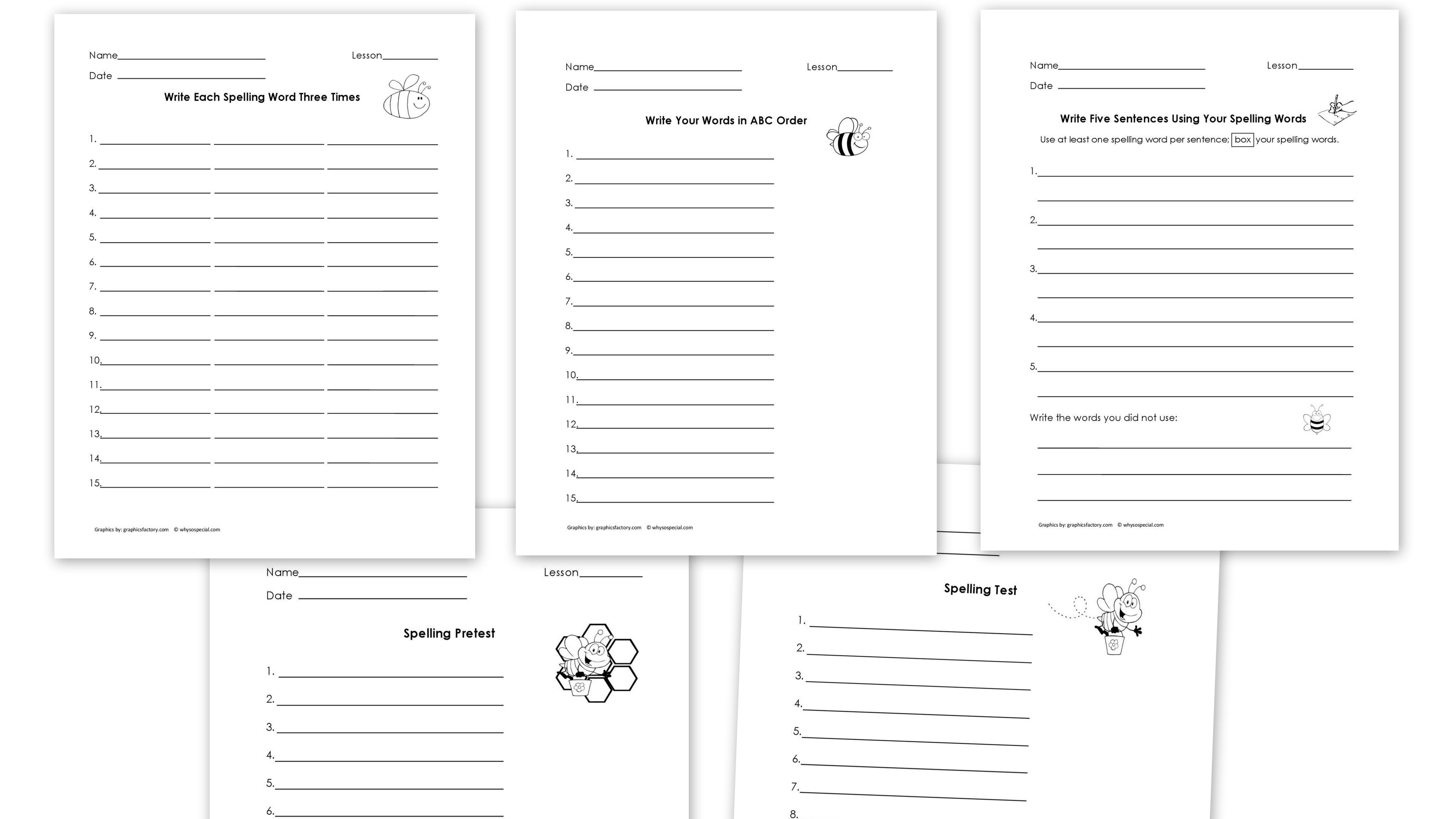 Spelling Worksheets Collage