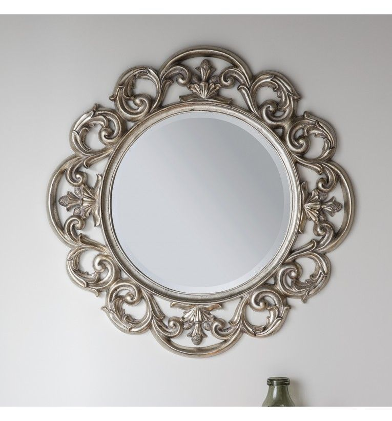 Mirror Design Wall Lighted, Ornate Round Silver Wall Mirror