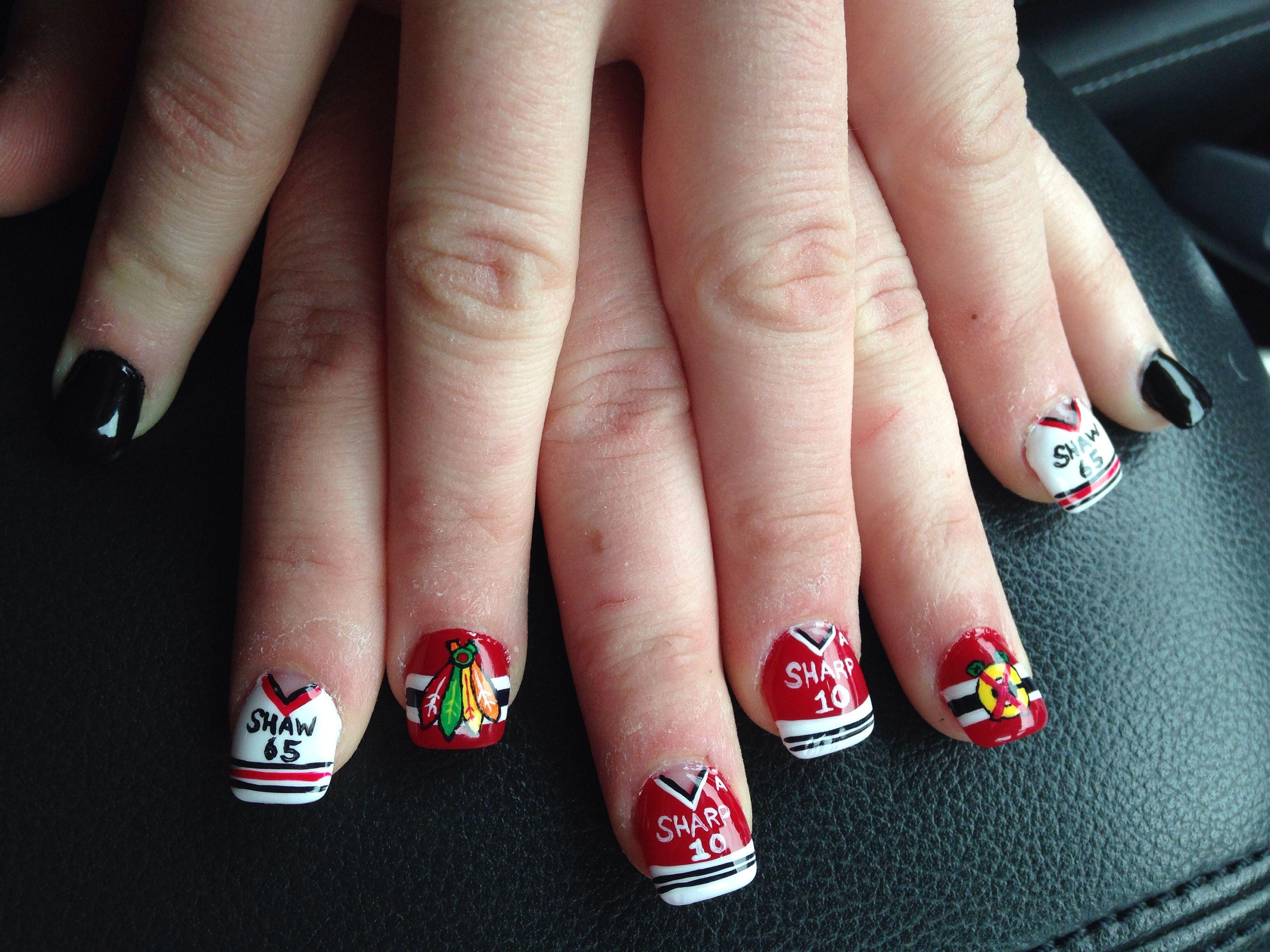 Chicago Blackhawks Nails Sports Hockey Nail Design