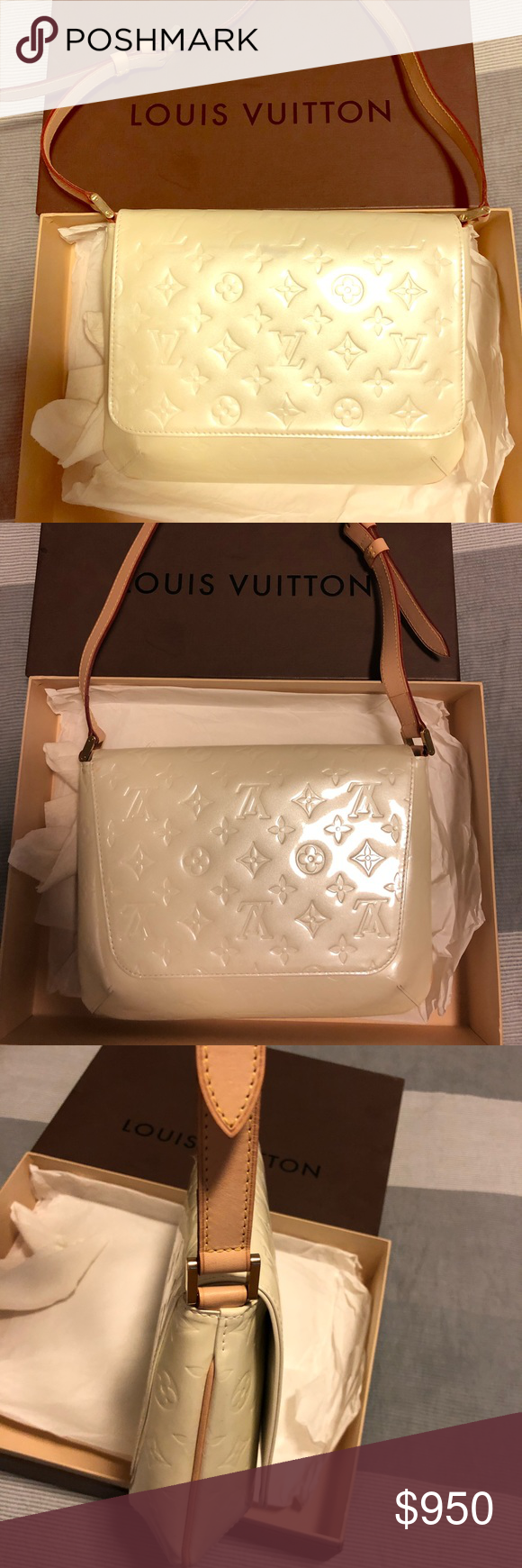3f0b4b2010bc Louis Vuitton Thompson Street Leather Vernis Authentic Louis Vuitton Pearl  White Leather Venir Purse. Only