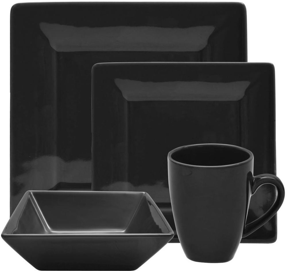 Attrayant 10 Strawberry Street Vivo Casual Porcelain 16 Piece Black Square Dinner Set