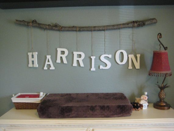 """3"""" Letters Custom Tree Branch Mobile. I going to the craft store today...my Harrison no longer has a changing table in his room but I love, love, love this."""