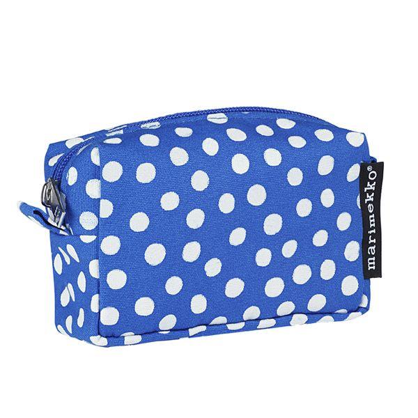Itu cosmetic bag, Tippa blue-white, by Marimekko.