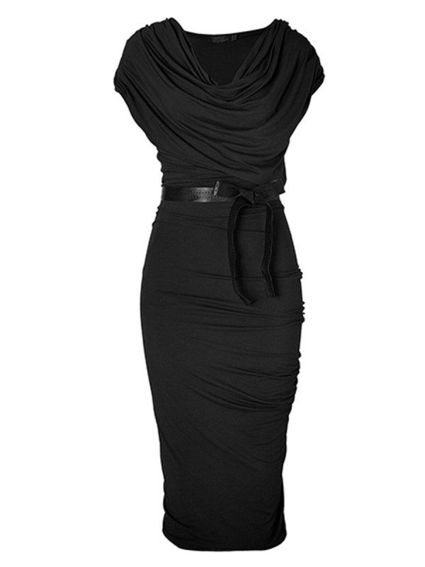 Photo of Cowl Neck Ruched Bowknot Solid Bodycon Dress – nicolemove.com
