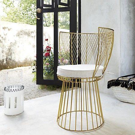 Alexandria Metal Gold Chair With Natural Cushion | CB2