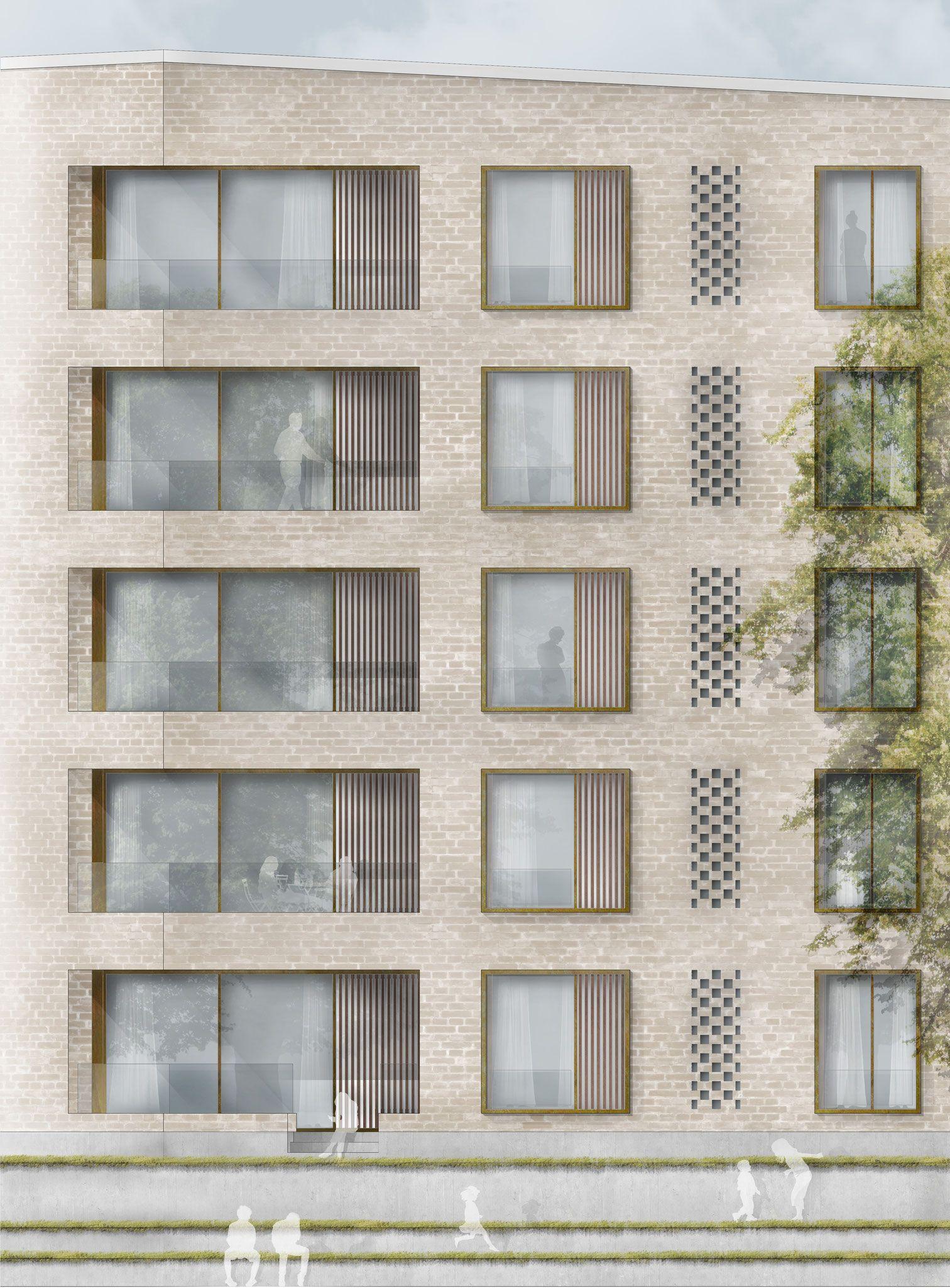 Section fassadenschnitt ansicht brick architecture - Ansicht architektur ...