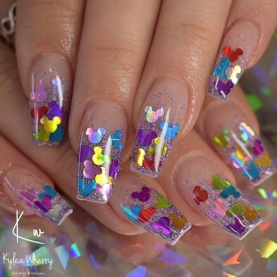 Mickey Mouse Shaped Glitter Nails Disney Nails Acrylic Mickey Nails In 2020 Mickey Nails Mickey Mouse Nails Nails
