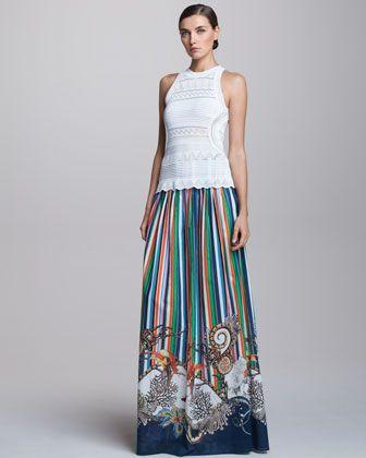 Pointelle Halter Top & Long Striped Skirt - Neiman Marcus