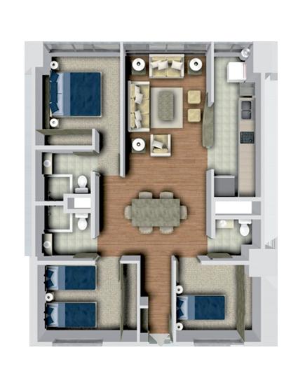 Planta arquitectonica de un departamento buscar con for Departamentos decorados con plantas